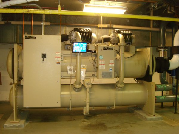 grey commercial chiller system with information screen